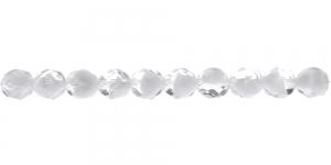 LN1026 Ümar tahuline klaaspärl, Tšehhi, 8mm, Värvitu läbipaistva- ja valgekirju
