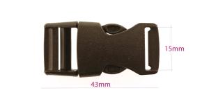 Plastikust pistlukk 43 mm x 22 mm, rihmale laiusega 15 mm, must, UG9A