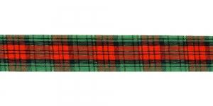 Ruuduline kirju pael, laius 25mm, Art. TT01425-TTN, värv 2, punane, roheline, kuld