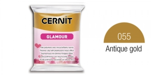 Polymer clay, CERNIT GLAMOUR, Pearlescent and metallic colours, 56g, Antique gold 055