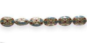 FA10 15x11x7,5mm Helesinisekirju ovaalne, lapik cloisonne metallhelmes