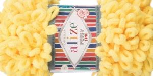 Pehme aasadega lõng Puffy Fine firmalt Alize, värv 113, helekollane