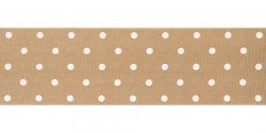 Valge täpimustriga ripspael laiusega 48mm, Art.P1410, värv 785