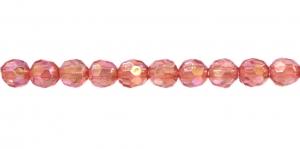 AI8 6mm Vanaroosa AB- läikega läbipaistev tahuline akrüülkristall