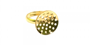 Sõrmusetoorik Kuldne niklivaba / Golden Perforated Round Finger Ring Base ni-free / 16mm / EA82