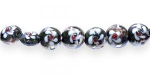 KM27 15x15x12mm Mustvalge kirjud klaashelmed