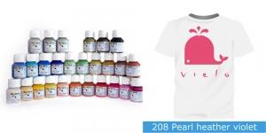 Pärlmuttervärv kanga värvimiseks, Fabric Paint Pearl, 50 ml, Vielo, Värv: mahe roosa, #208 Pearl heather violet