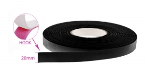 Sew on hook tape 20 mm, black