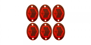 WF25 14x10mm Tumedam punane, tahuline ovaalne akrüülkristall, 6tk