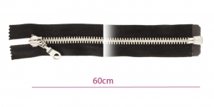 Alt avatav 8mm hammastikuga metall-tõmblukk, must, nikkelhammastik, pikkus 60cm