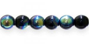 LN432 Ümar klaaspärl, Tšehhi, 12mm, Must läbipaistmatu 1/3 AB- kattega
