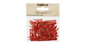 Värvilised väiksed pesupulgad 25 mm x 7 mm, 40 tk, Habico PP1050_RED, IL11