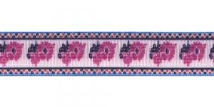Trükitud mustriga kummipael 30mm / Elastic Band / Värv 532-D Roosad lilled, valgel taustal