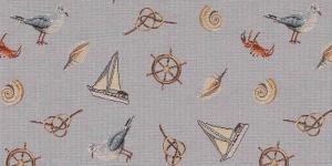 Gobeläänkangas kajakate, purjekate ja roolirataste mustriga, BB86014-01