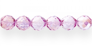 Ümar tahuline klaaspärl, Tšehhi, 16mm, Tumeroosa 1/2 AB-kattega tahuline läbipaistev, LI4