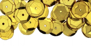 YB82 / Semi-Cupped Circle Sequins, 1 Center Opening / Shiny Pale Yellow-Gold / ø10mm