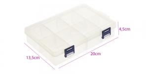 Plastmassist (PP) läbikumav säilituskarp, lukustatav, 8 sektoriga, 20 x 13,5 x 4,5 cm, KL1311