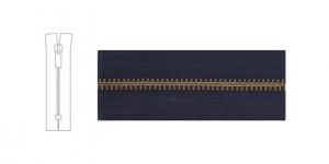 9700OX, Open end Metal Zipper, zip fastener, 13cm-14cm, black, member width: 6mm, antique brass plated
