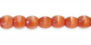 KG43 12x12mm Pruunikasoranžid piimjad kassisilma helmed
