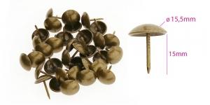 Polstrinaelad, dekoratiivnaelad, kübara ø15,5 mm, pinnakate: antiikpronks, 25 tk, KL0318, PB14