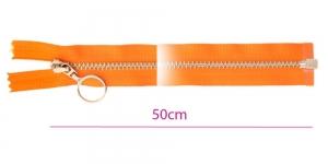 1091NI, Alt avatav 4mm hammastikuga metall-tõmblukk pikkusega 50cm, oranž, nikeldatud hammastikuga, rõngaga kelk, Opti