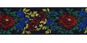 Lillekimpudega dekoratiivpael, laiusega 65 mm, värv 3N NERO, Art. 17169