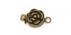 Antique Bronze Round Box Clasp with Rose Pattern / 14 x 10mm / EJ82