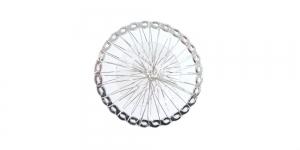 Hõbedane ja värvitu, Silver Circular Wire Charm with Transparent Adornment, 40mm, EG60