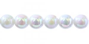Valge AB-läikega ümar plasthelmes, BP5 14mm
