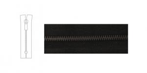 9700BN, Open end Metal Zipper, zip fastener, 13cm-14cm, black, member width: 6mm, BN plated