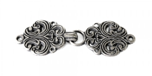 SHA17, Scandinavian Pewter Clasps, pair size: 63mm x 20mm, antique silver plating