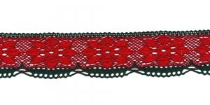 Peenest niidist jõuluvärviline servapits D033-56, Värv Punane rohelisega