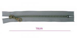 1932OX, Metall-tõmblukk pikkusega 16cm, 6mm antiikpronks hammastikuga, hall, Wico ümar kelgu ripats