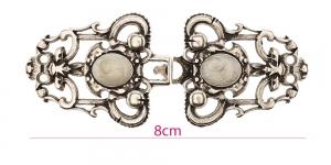 Disainhaak, antiikse mustriga metallist haak, paari mõõtmed: 80x33mm, antiikhõbe, HD445