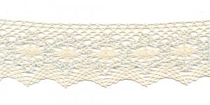 Puuvillane servapits 1424-X4 laiusega 6,5cm, Värv: Loodusvalge helesinisega