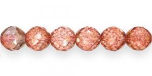 Ümar tahuline klaaspärl, Tšehhi, 14mm, Vanaroosa läbipaistev, kuldläikega, LH14
