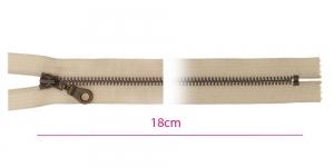1825ОХ, Closed end Metal Zippers, zip fasteners, 18cm, color: beige, member width: 6mm antique brass