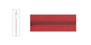 3488X, Metal Zipper, zip fastener, 17cm-18cm, raspberry red, member width: 4mm, antique brass