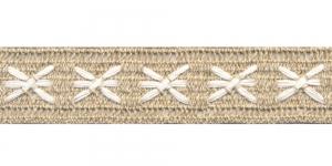 Puuvillane pits 1204-L2 laiusega 4 cm, värv linabeež valgega