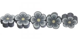 CE35_4 14x6mm Hallikirju lilleline polümeersavist helmes