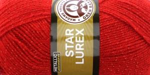 Metallikniidiga akrüüllõng Star Lurex, Madame Tricote, värv nr. 33K, punane samatoonilise metallikniidiga