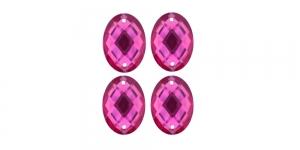 WF10 23x17mm Tumeroosa, ovaalne tahuline akrüülkristall, 4tk