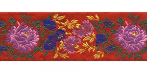 Lillekimpudega dekoratiivpael, laiusega 65 mm, värv 6N ROSSO, Art. 17169