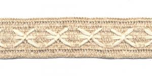 Puuvillane pits 1204-L1 laiusega 4 cm, värv linabeež kreemjasvalgega