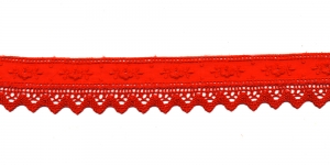 Luksuslik tikitud broderiipits koos kootud pitsiga laiusega 28mm T122-07, Värv: Punane