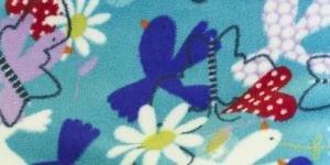 10 Sinakasroheline lillede ja lindudega Pehme fliis