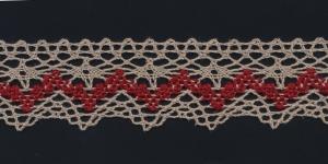 Puuvillane servapits 3121-MC laiusega 4 cm, värv linabeež punasega