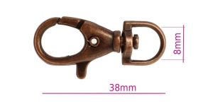 SHx33, Swivel hook; swivel lach; swivel ring; snap hook, key clasp, 40 mm, hole ø8 mm, Antique copper plating