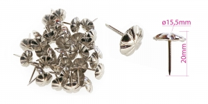 Upholstery decorative nails Daisy, hat ø15,5 mm, Plating: nickel, 25 pcs, KL0311, PB19