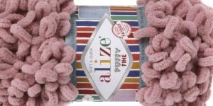 Pehme aasadega lõng Puffy Fine firmalt Alize, värv 295, tuhm roosa